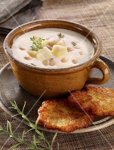 Buttermilk soup with potato cakes