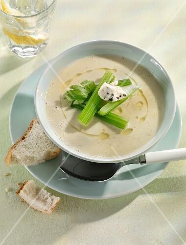Celery soup with crème fraîche