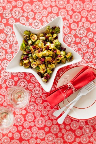 Fried Brussels sprouts with balsamic vinegar and cranberries for Christmas