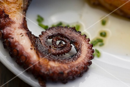Grilled octopus at beach restaurant La Huella