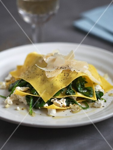 Open ravioli with spinach and ricotta