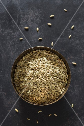 Fennel seeds in a metal bowl
