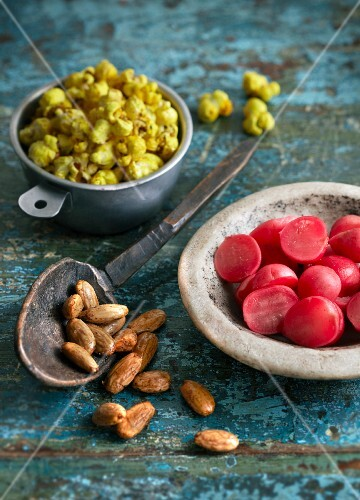 Curried popcorn, almonds and radishes (Indian snacks)