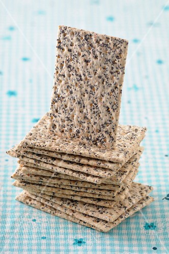 A stack of poppyseed crackers