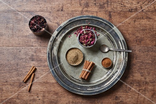 Various spices and dried flowers