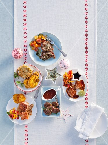 Various marinated Christmas dishes