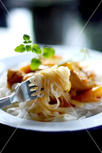 Rice noodles with chicken and peppers (Asia)