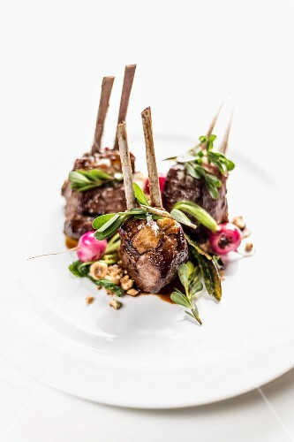 Lamb chops with radishes and purslane at the restaurant Open Colonna, Rome