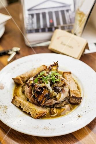 Coratella d'Abbacchio, grilled lamb innards at the restaurant Armando al Pantheon
