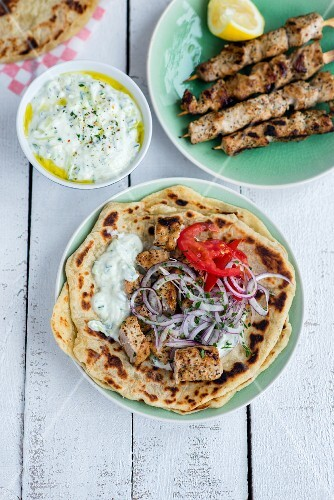 Greek pork souvlaki with tzatziki and homemade pita bread