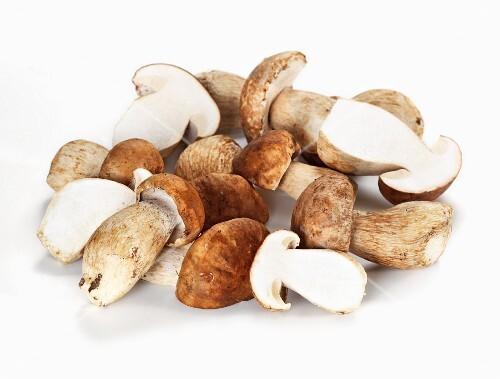 Fresh porcini mushrooms, some halved