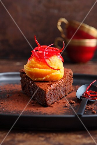 Blood orange and saffron sorbet on a slice of chocolate tart
