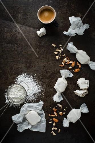 Nougat bonbons, almonds and espresso