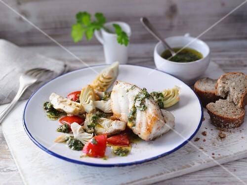 Catfish with fresh salsa verde