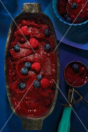 Berry sorbet with fresh berries