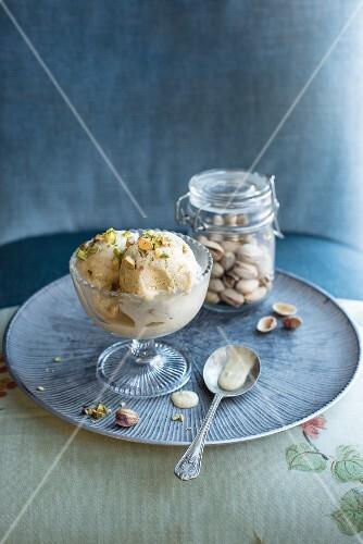 Pistachio ice cream in an ice cream bowl