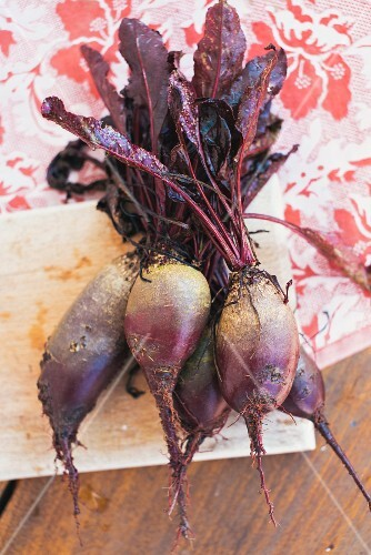 Freshly picked beetroot on a wooden board