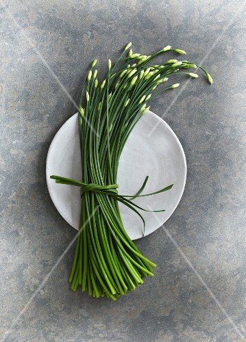 A bundle of garlic chives on a plate