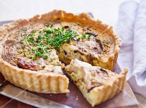 Mushroom tart garnished with cress