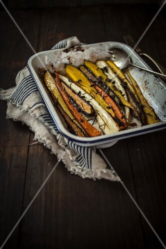 Roasted vegetables in a roasting tin
