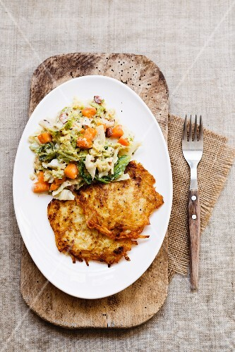Potato fritters with a savoy cabbage medley