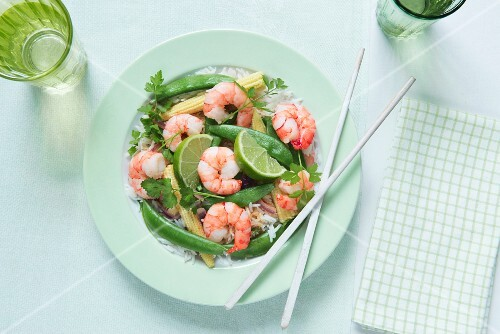 Red Thai curry with king prawns