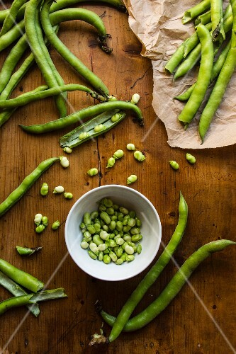 A bowl of shelled broad beans surrounded by beans in pods