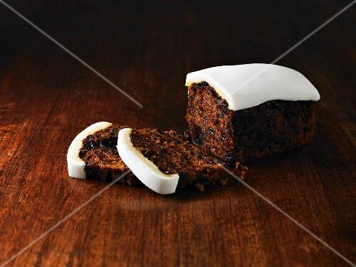 Christmas cake, sliced
