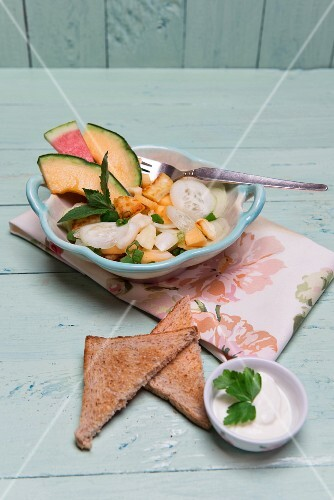 Cucumber and melon salad with haloumi cheese and fresh mint