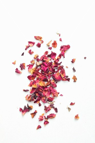 Dried rose petals seen from above