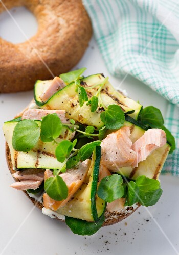 A salmon, courgette and water cress bagel