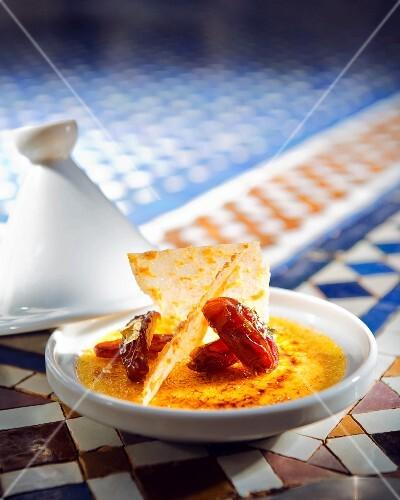 Oriental crème brûlée with dates and saffron