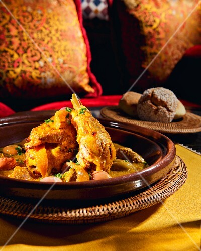 Oriental country chicken with olives and lemon confit