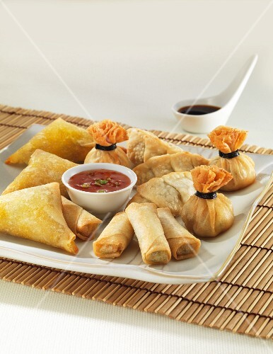 An Oriental appetiser platter with spring rolls, dumplings, samosas and two sauces
