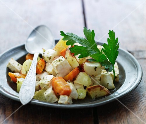 Warm root vegetable salad