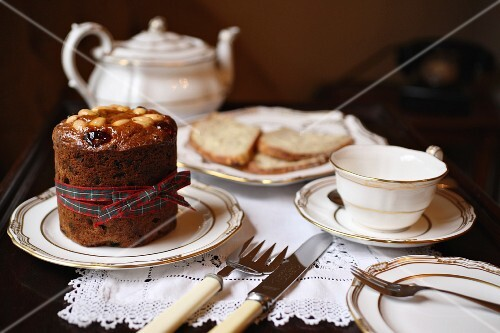 Afternoon tea with Scottish fruitcake, bread and butter