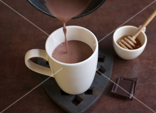 Homemade hot chocolate with honey