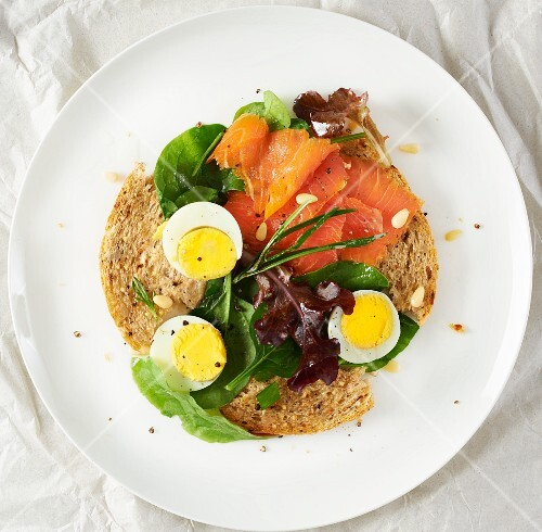 Smoked salmon, eggs, sour dough toast and herbs
