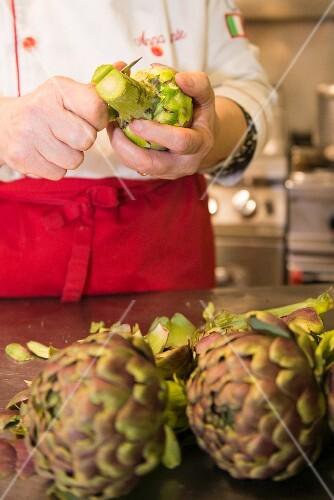 Preparing an artichoke