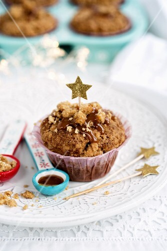 Spiced date and pecan nut muffins with caramel sauce and crumbles (Christmas)