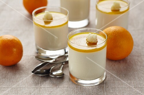 Glasses of orange cream dessert