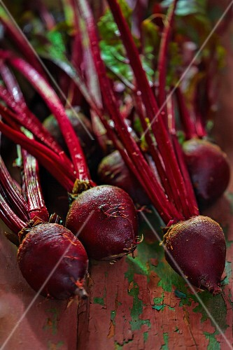 Beetroot on a weathered wooden surface