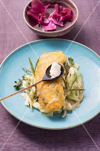 Baked fish fillet with fennel