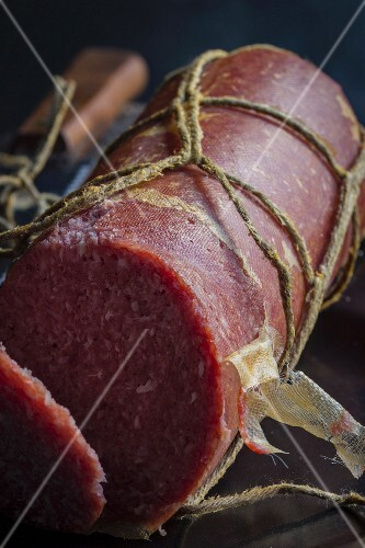 Salami from Scottish highland cattle, sliced