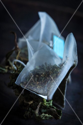 Teabags with peppermint and dried mint