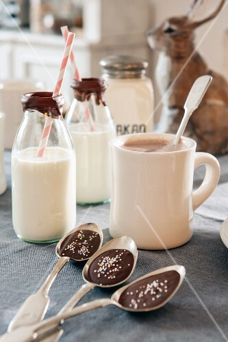 Chocolate in bowls of spoons, mug of hot chocolate and bottles of milk with drinking straws