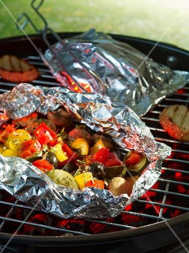 Grilled Mediterranean vegetables in aluminium foil