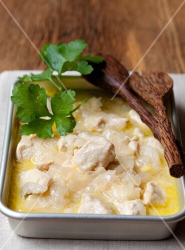 Chicken in coconut milk with parsley