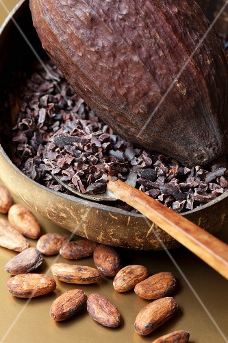 Crushed cocoa beans and whole cocoa beans