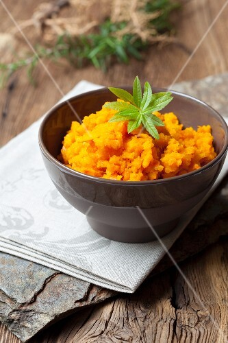 A bowl of carrot purée